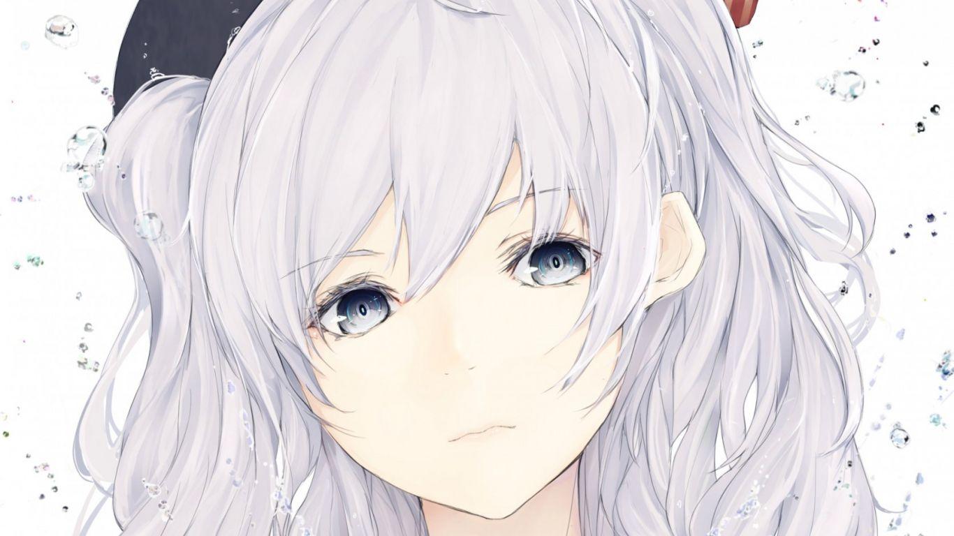 1366x768 Wallpaper girl, anime, face, art