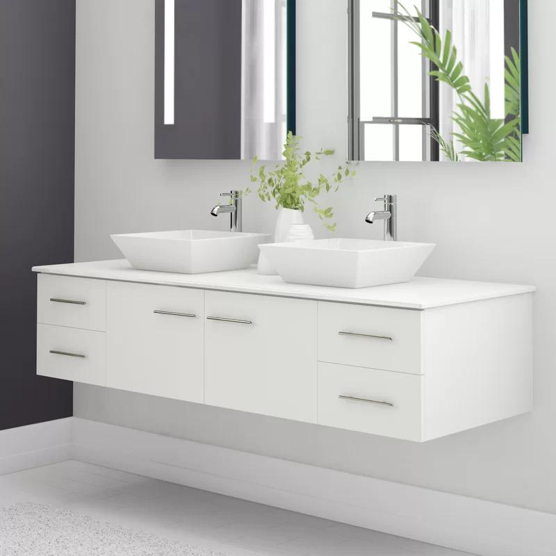 Vinit 60 Wall Mounted Double Bathroom Vanity Set In 2020 Double Vanity Bathroom Small Bathroom Vanities Vessel Sink Bathroom Vanity