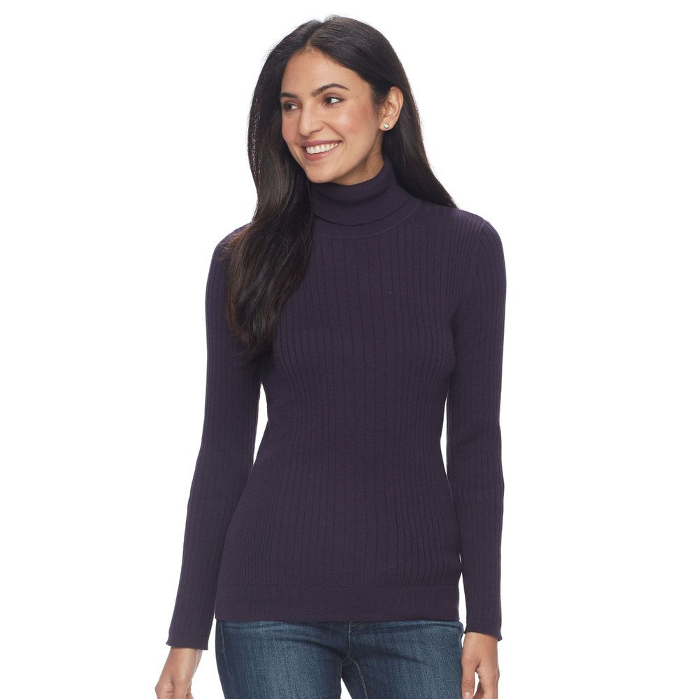 Women's Croft & Barrow® Essential Ribbed Turtleneck Sweater, Size ...