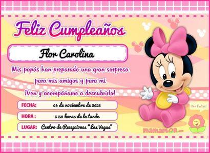 Invitaciones De Minnie Baby Mouse Tarjeta De Cumpleaños De