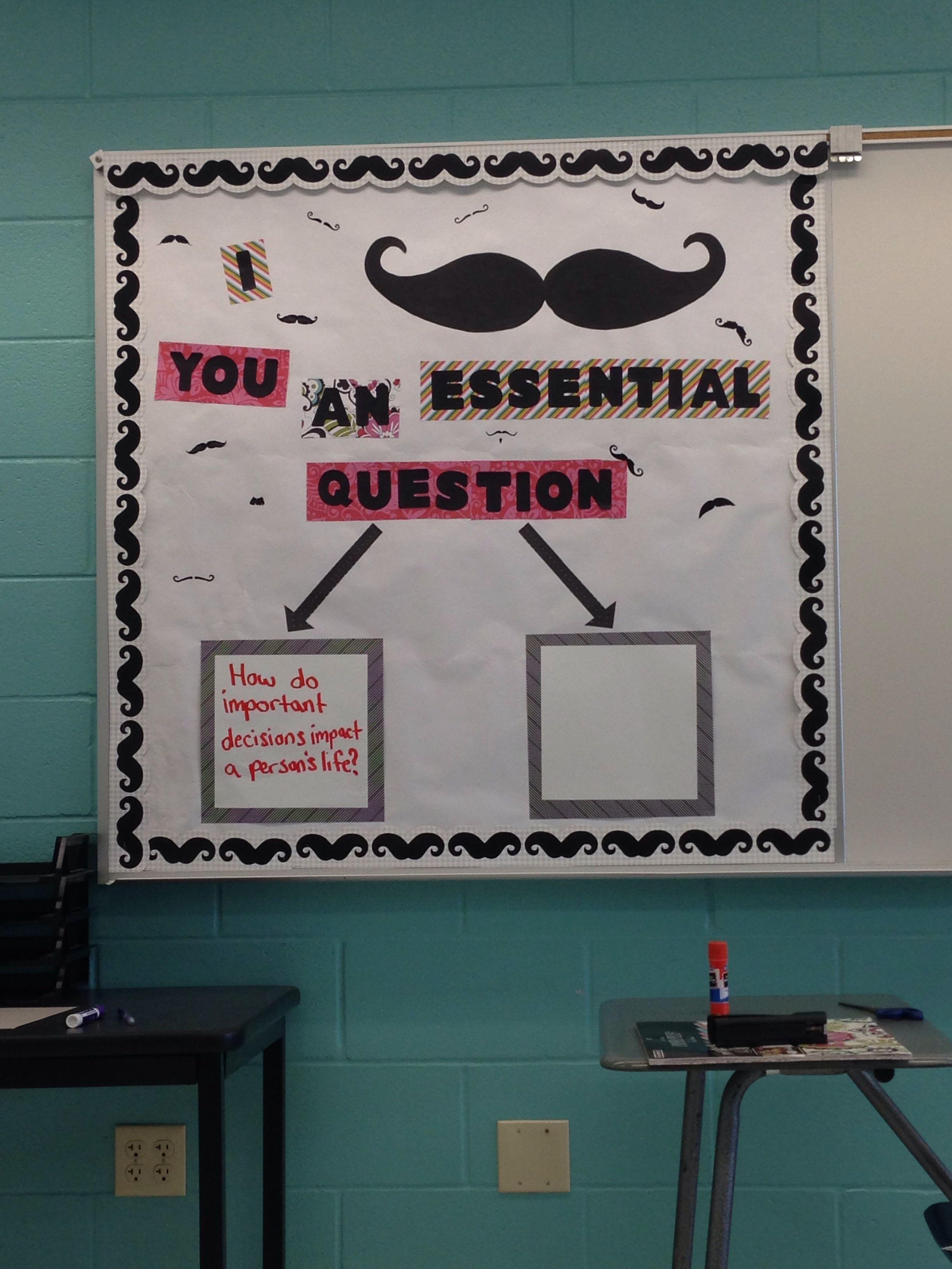 6th Grade Language Arts Classroom Decorations ~ Mustache essential question bulletin board th grade