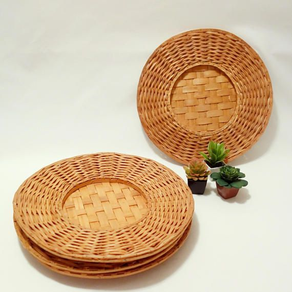 Vintage Woven Charger Wicker Bamboo Plate Charger Wall & Vintage Woven Charger Wicker Bamboo Plate Charger Wall | Boho Home ...