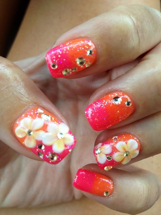 Orange And Pink Nails With Flowers Designnailsnails Artnails
