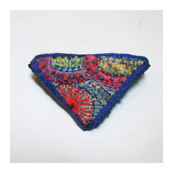 Hand Embroidered Colorful Triangle Pin by MadrigalEmbroidery