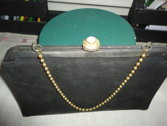 91c5f422c1886 Black Satin Formal Clutch Purse Hand Bag Made By Admiral   Vintage ...