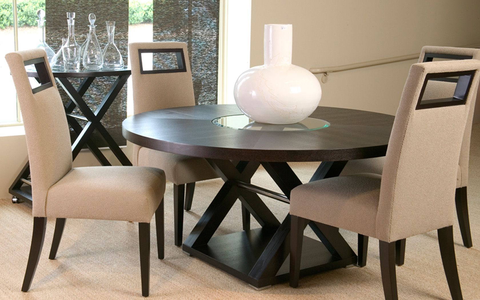 Halifax Round Dining Table W Glass Insert By Allan Copley Designs