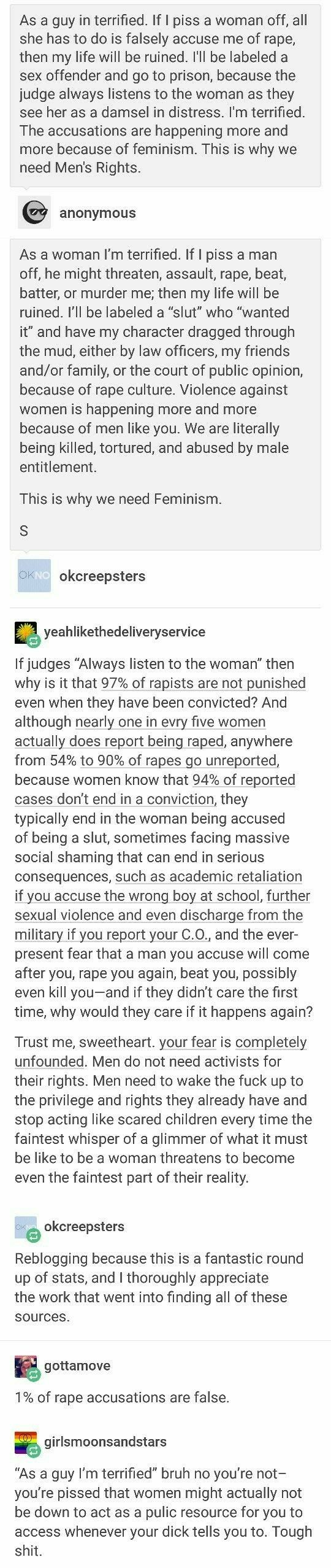 0.05 percent of rape allegations are false and in most cases it's from a  woman dropping charges on her husband cuz she 'forgives' the dirtbag.