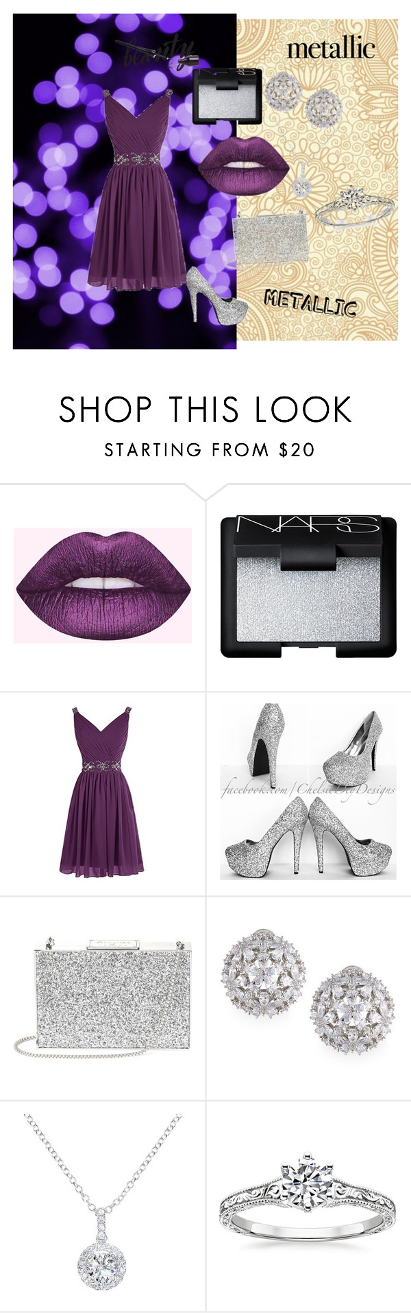 """metallic make up"" by jabss ❤ liked on Polyvore featuring beauty, Lime Crime, NARS Cosmetics, Aspinal of London, Fallon and EWA"