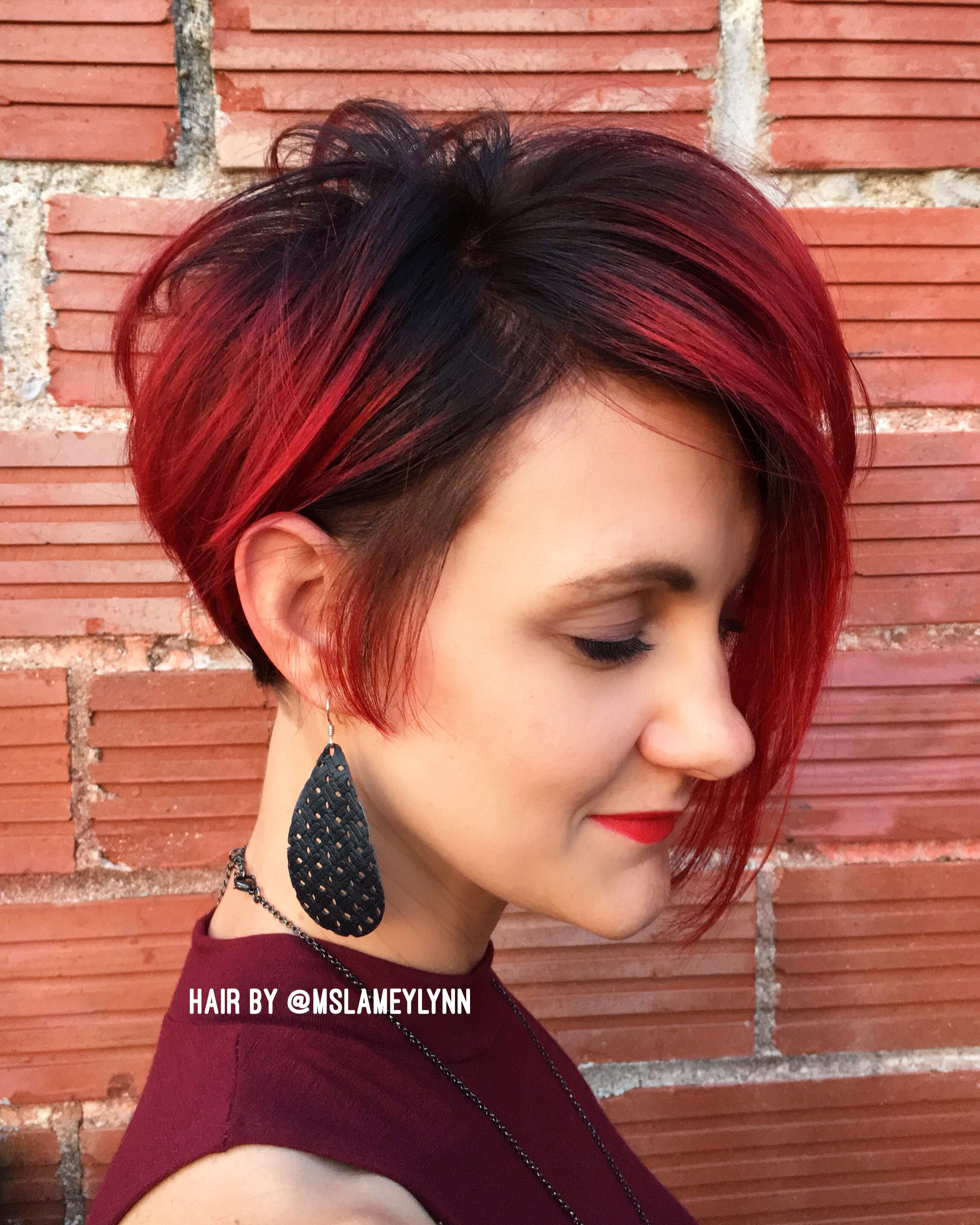 Red Hot Bob Haircut And Color Using All Matrix Color And New