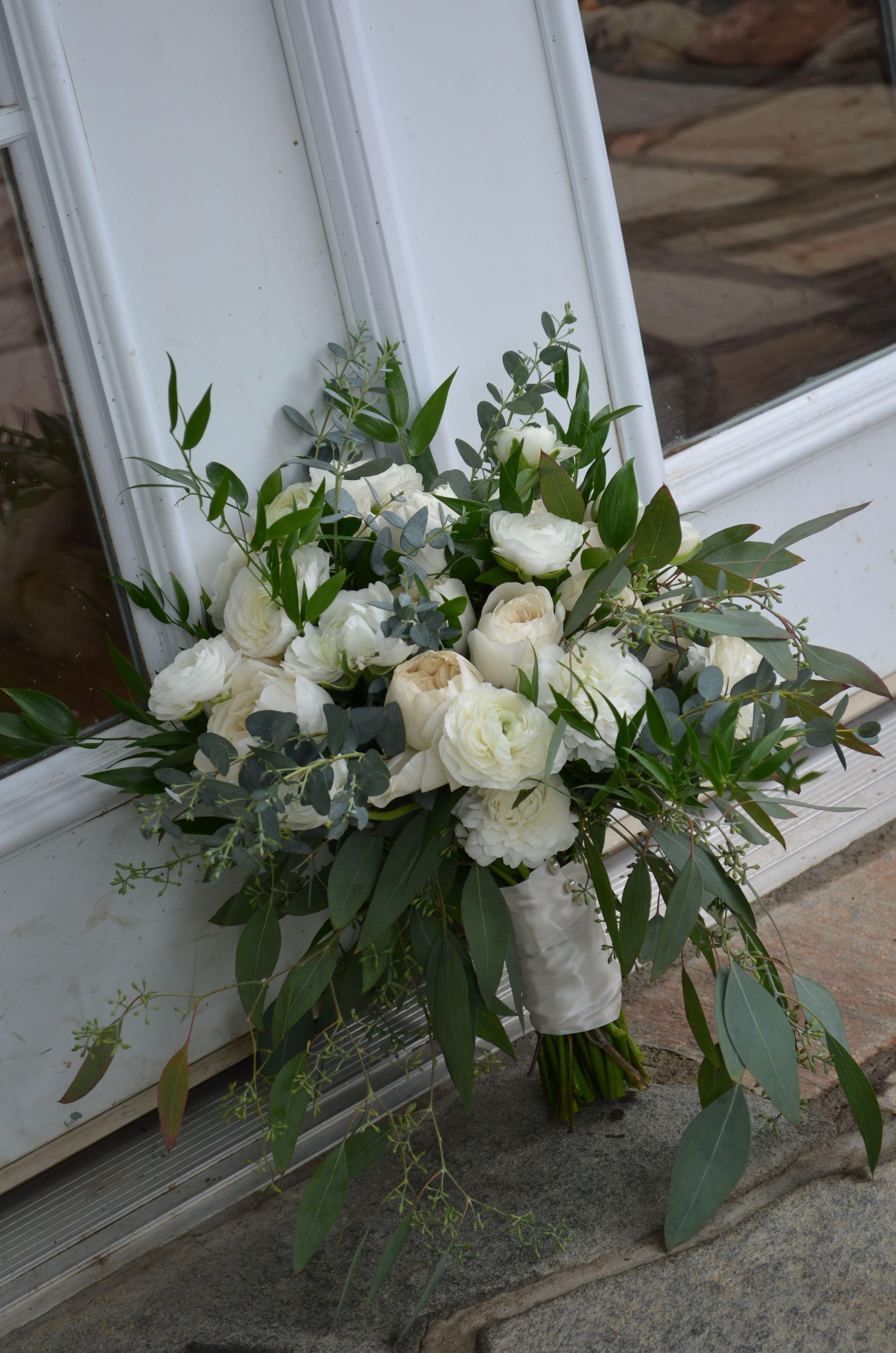 Bridal Bouquet Of White Garden Roses Eucalyptus And Italian Ruscus Tony Perotti Casual Aspen Brown