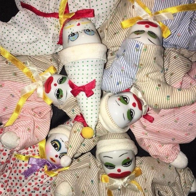 Lot of 6 Porcelain CHINA Ceramic Head CLOWNS Weighted Bean Bag Body