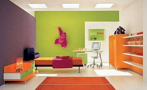 The Color Scheme To This Room Is Green Orange And Violet I Love