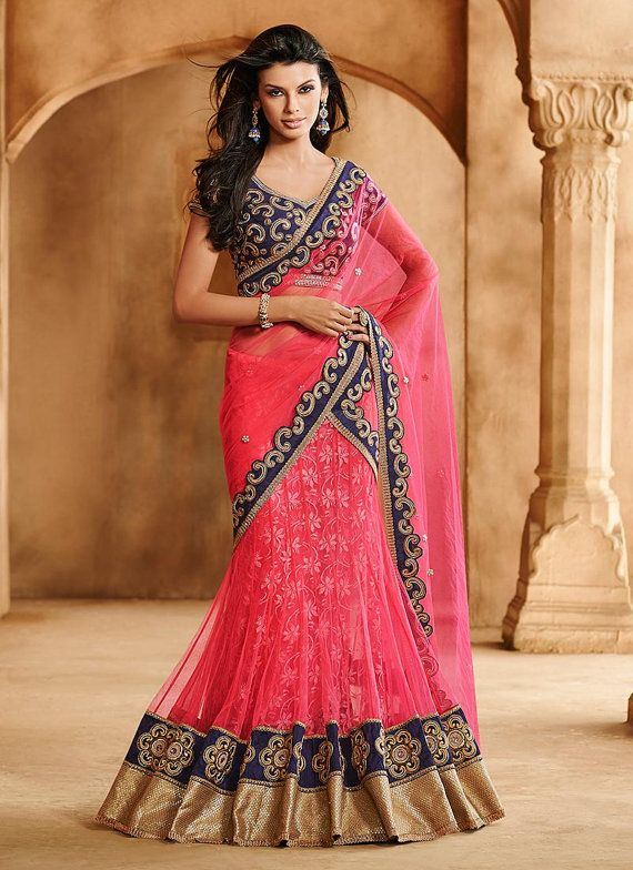 Designer Lehenga Saree Sari Stunning Pink Net By