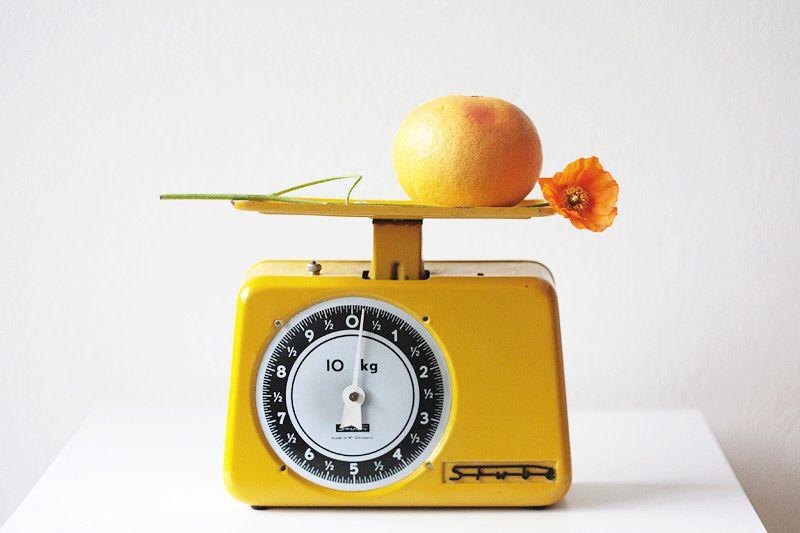 vintage scale, grapefruit, flower