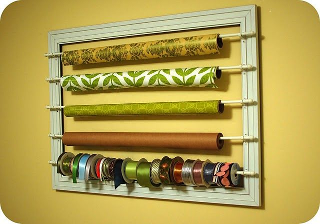Wrapping paper ribbon wall rack.  Ingenious.