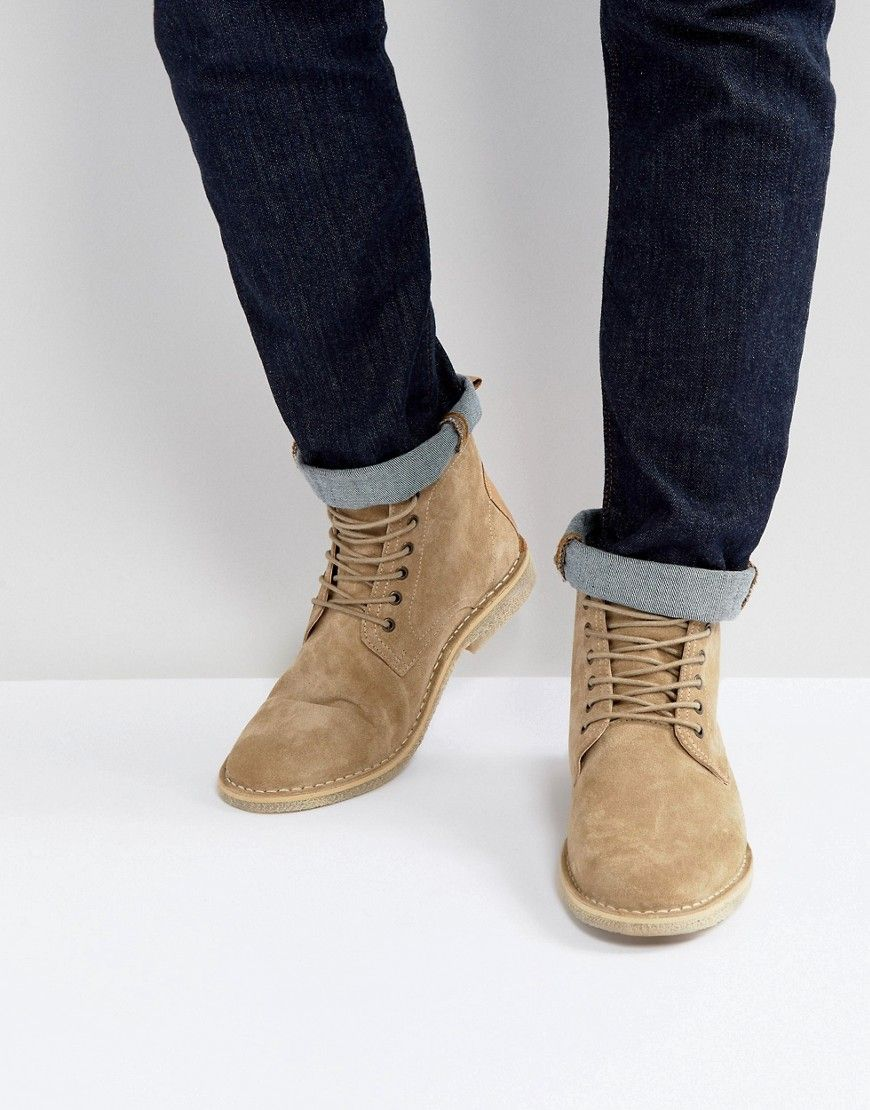 8d0b7441411d ASOS Desert Boots In Stone Suede With Leather Detail - Stone
