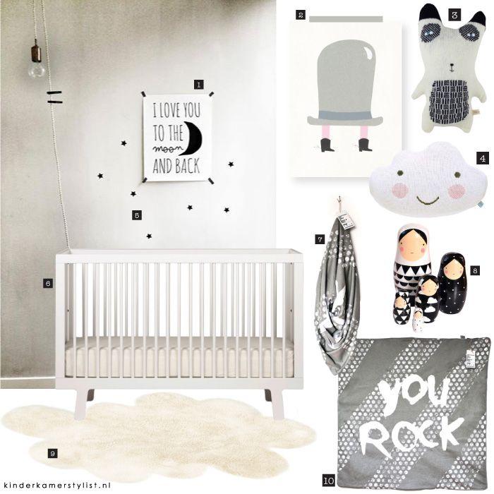 Babykamer zwart wit  Nursery Inspiration  Babykamer