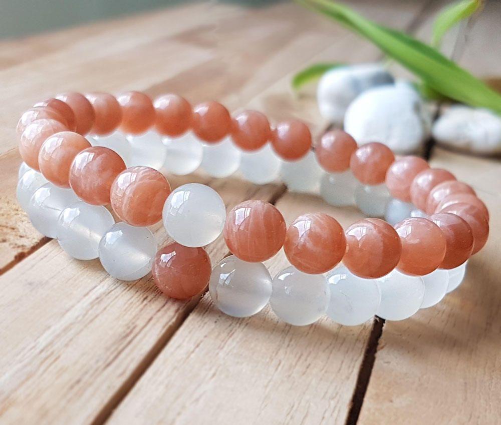 5bcb9991ed Moonstone bracelet,Sunstone bracelet,Couple bracelet,Set of two bracelet,  sun stone bracelet,His her bracelet, Love bracelet B542 by OrientAppeal on  Etsy