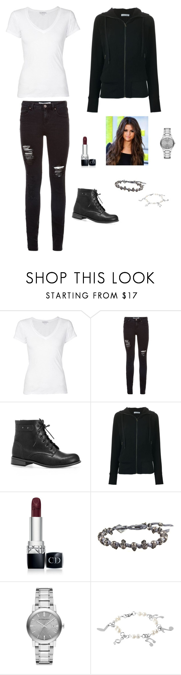 """Untitled #744"" by francyrizzo ❤ liked on Polyvore featuring James Perse, Avenue, Tomas Maier, Christian Dior, M. Cohen, Burberry, West Coast Jewelry, women's clothing, women's fashion and women"