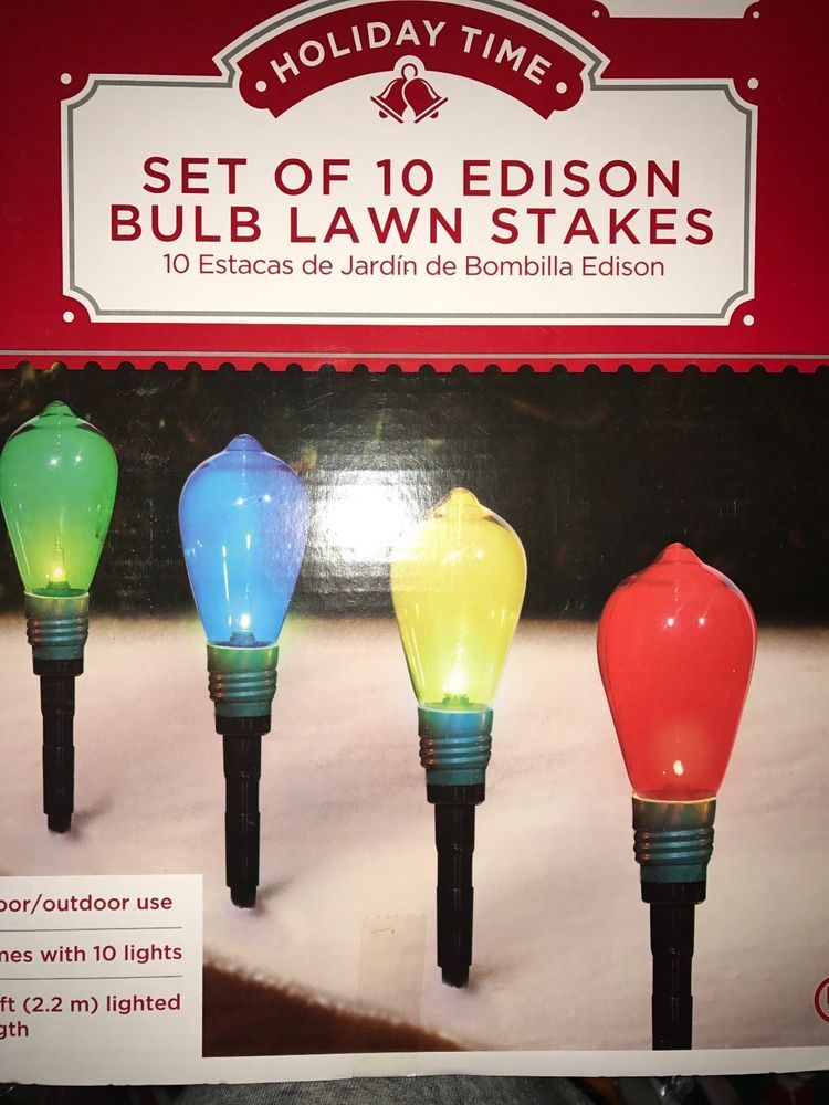 af9f9b4f27b Set of 10 Edison Bulb Lawn Stakes Christmas Bulb Pathway Lights Outdoor  Decor  HolidayTime