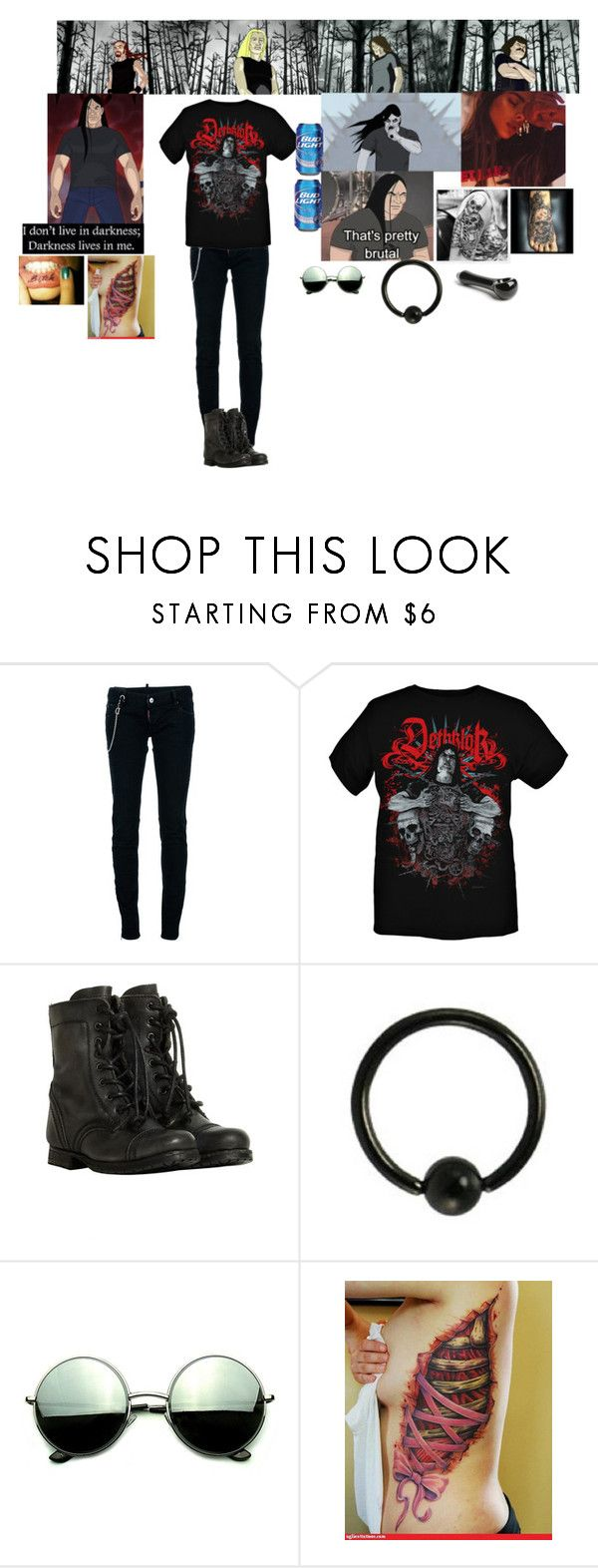 """my new fav show Metalocalypse"" by monsterhex ❤ liked on Polyvore featuring Dsquared2, AllSaints and Revo"