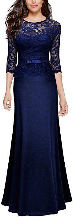 f4c57bae1f Amazon.com  Miusol Women s Retro Floral Lace 2 3 Sleeve Slim Peplum Formal
