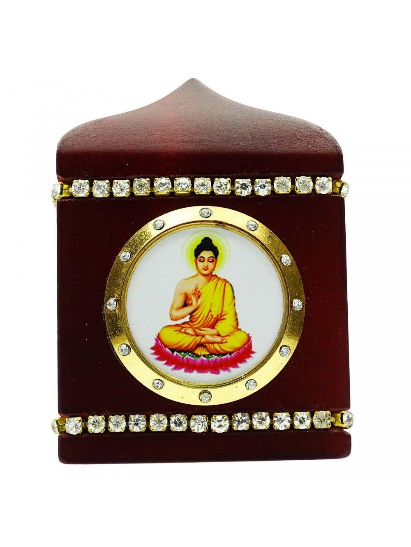 Decorative Wooden Lord Buddha Frame Office Table Decor Car Dashboard