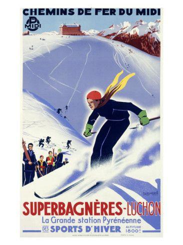 Vintage Travel Poster - France - Luchon. Winter Sports