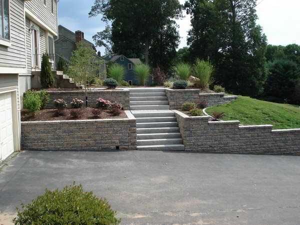 Details About Driveway Retaining Wall With Fir Tree Front Yard