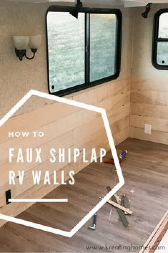 Check out this easy DIY solution to those bland RV walls: Shiplap! Faux shiplap ... - Camper Wiz