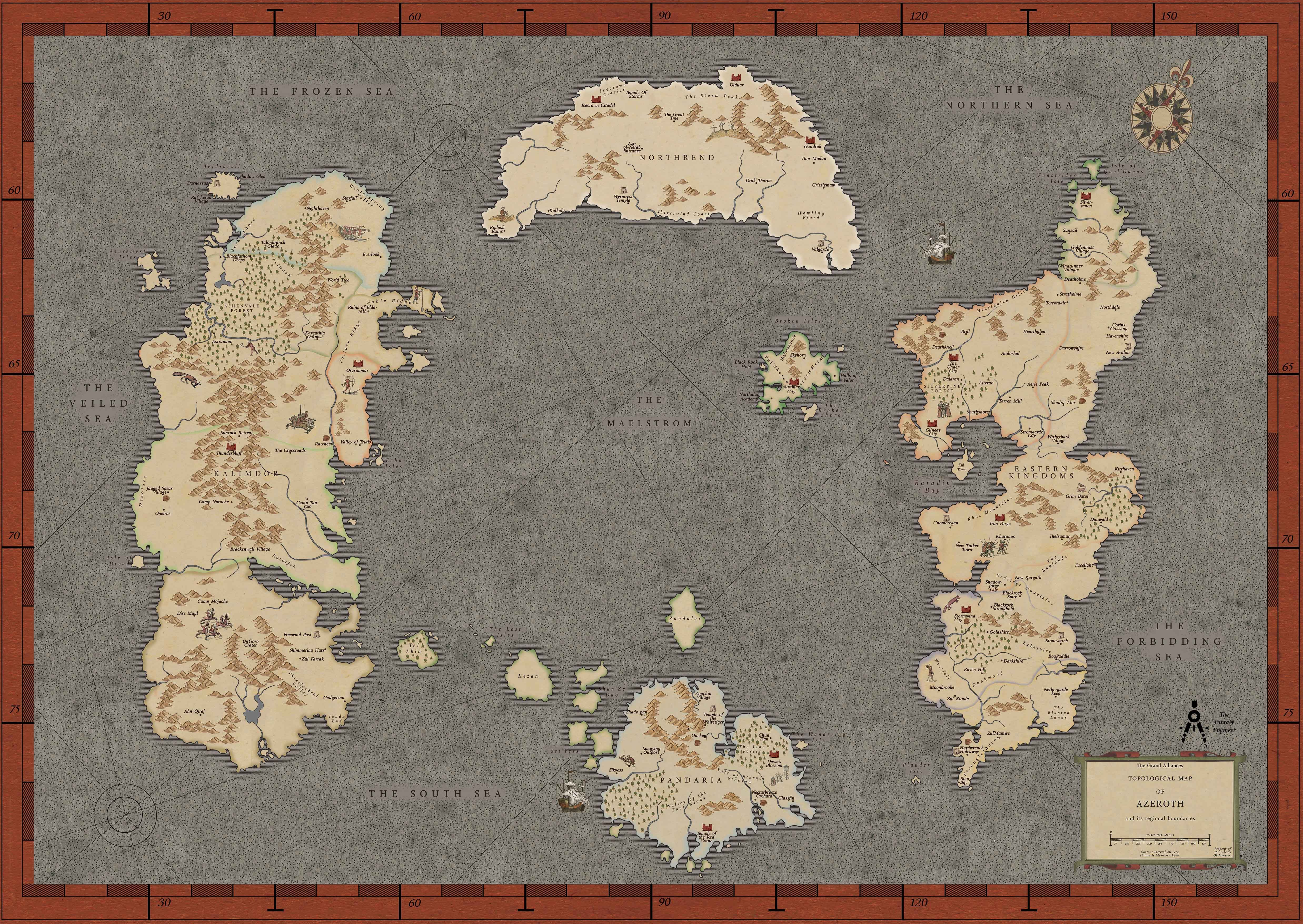World Map In Renaissance. My second revision of the full Azeroth map Renaissance style  worldofwarcraft blizzard Hearthstone