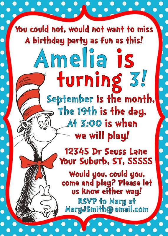 Dr Seuss Cat in the Hat Invitation Printable 5x7 Birthday – Cat Party Invitations