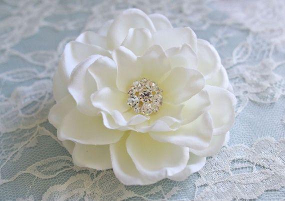 Gardenia Bridal Headpiece Wedding Hair Accessory Ivory Gardenia Flower Hair Clip With Rhi Bridal Accessories Jewelry Floral Jewellery Wedding Hair Head Piece