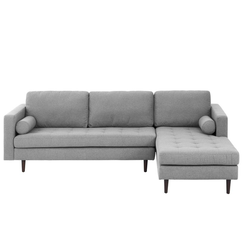 Nolan L Shaped Sofa Slate Fabric Left Facing Chaise Lounge