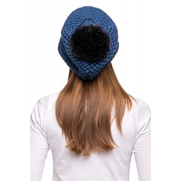 Women s Winter Slouchy Oversize Beanie Pom Pom Knit Hat - Navy Blue ... f2d750d1e60
