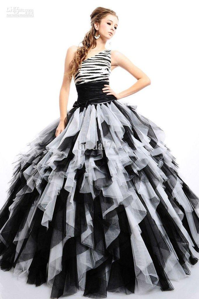Dyal Zebra Print Wedding Dress Black