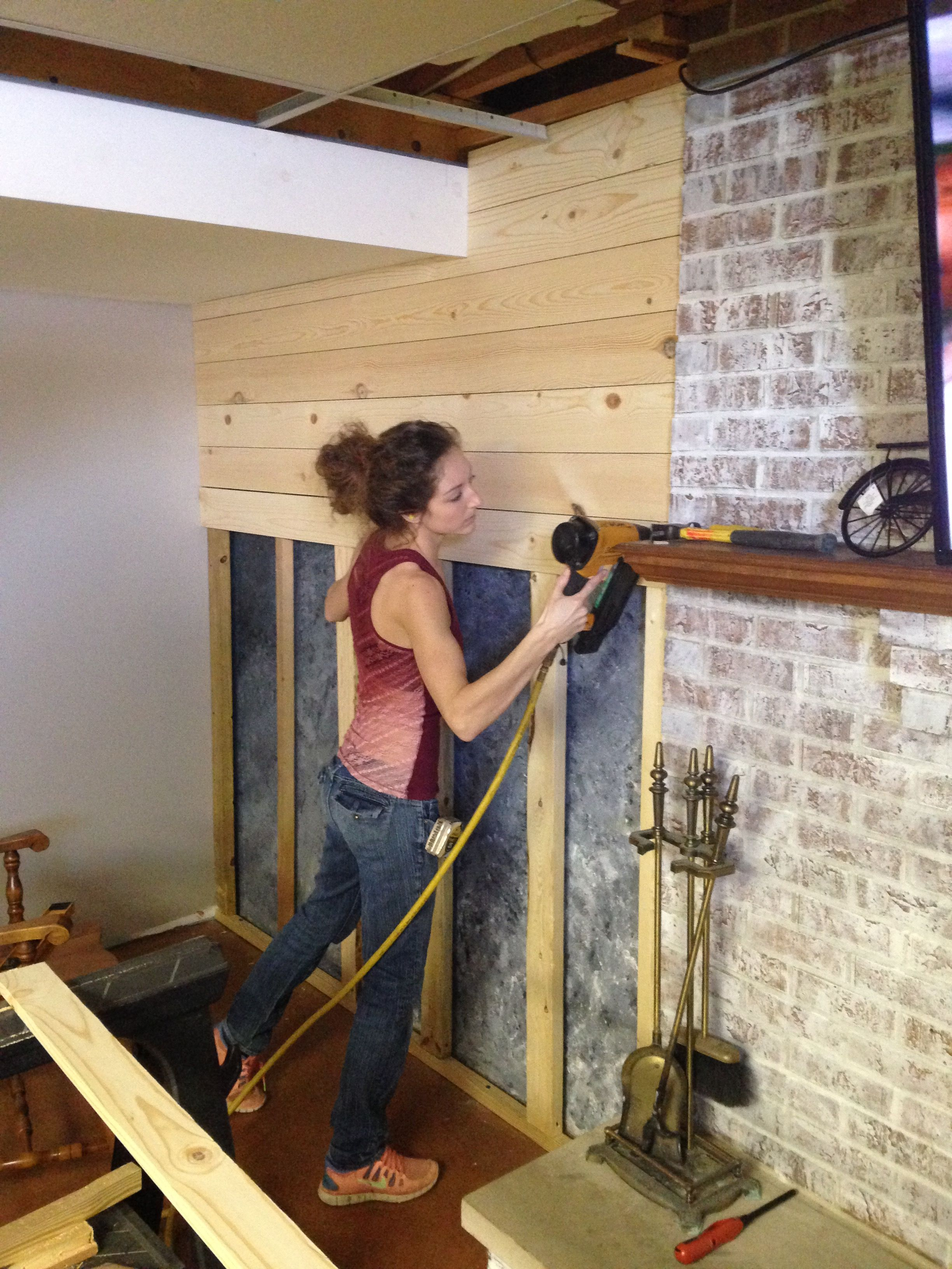 Getting Rid Of That Concrete Wall And Putting Up Shiplap Rusticdecor Southernglimpse Carpenter Sh Concrete Wall Covering Shiplap Wall Diy Basement Makeover