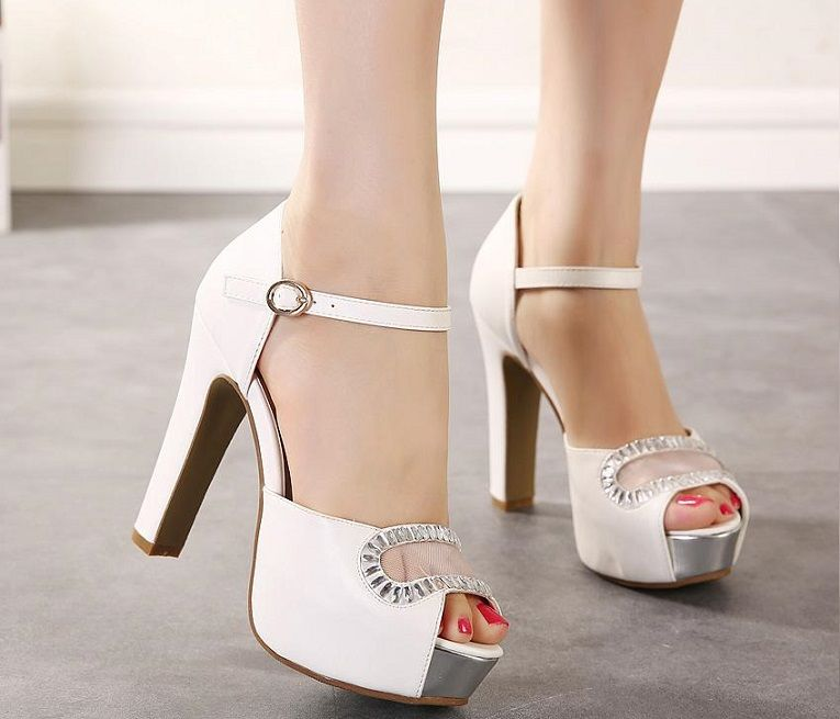 Luxury Ivory White Glitter Wedding Shoes Sandals Elegant Bridal Pumps Platform High Thick Heels