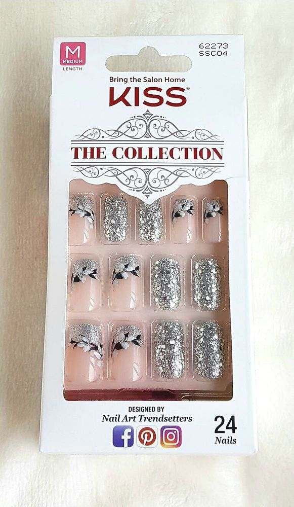 KISS 24 Glue-On Nails SILVER GLITTER+FLOWERS The Collection MEDIUM ...