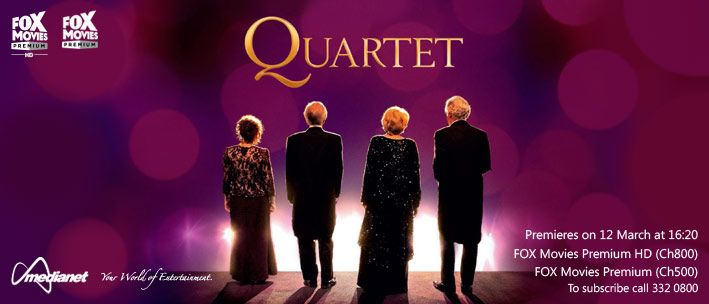Quartet - At a retirement home, an annual concert is disrupted by the arrival of a new resident who happens to be a diva and the ex-wife of another resident.