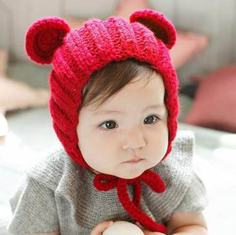 c2a524b7 Brown Bear knit hat with ears for baby cute animal winter hat design ...
