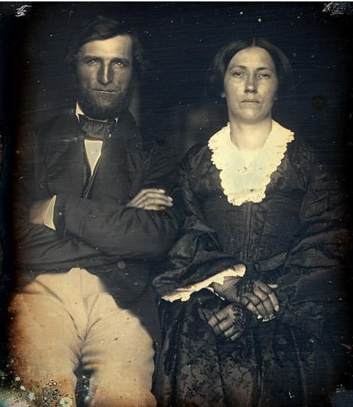 "1858 Daguerreotype of Andrew Alexander Love (25 Dec 1816 - 16 Nov 1893) & Clementine Carolina ""Lanira"" Leach Love (6 Jun 1829 - 8 Jun 1878) at Kaufman TX, 1858. Both are buried at College Mound. Bateman line."