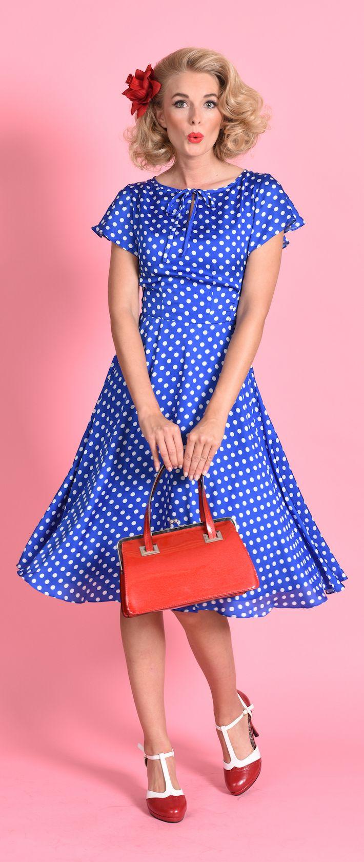 Unique Vintage 1940s Style Royal Blue & White Dot Formosa Swing ...