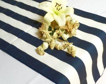 Navy And White Striped Table Runner, Choose Length, Nautical Wedding Runner,  Nautical Decor