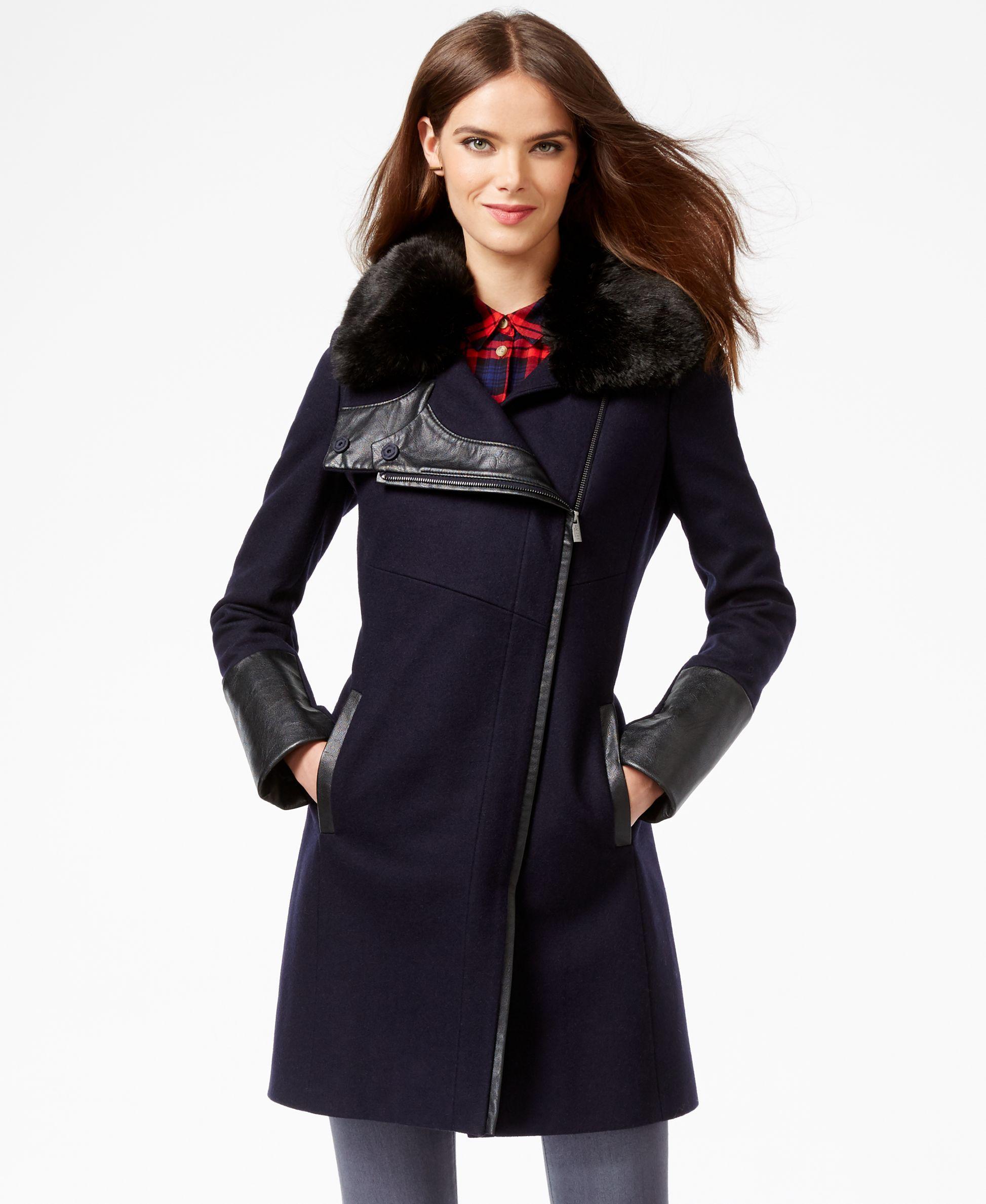 Rachel Rachel Roy Faux-Fur-Trim Asymmetrical Walker Coat