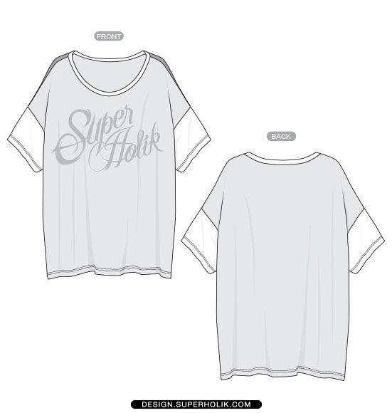 Drop shoulder sleeve tee template - Flat http://design.superholik ...