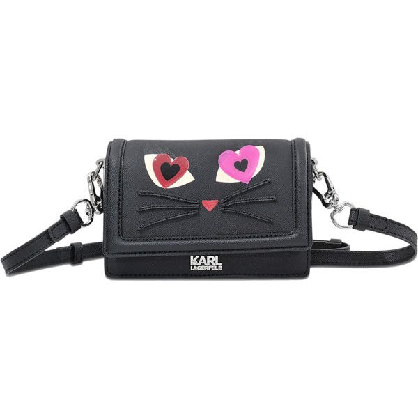Karl Lagerfeld Choupette Love Crossbody Bag ($220) ❤ liked on Polyvore featuring bags, handbags, shoulder bags, black, flap crossbody, cross body, flap handbags, crossbody handbags and black purse