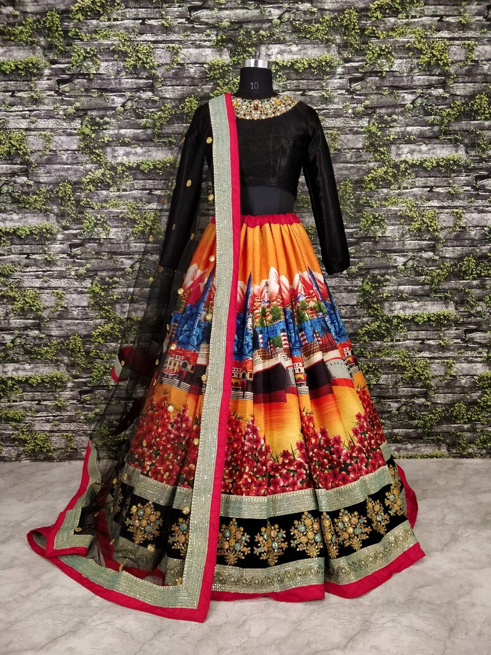 e89fbd29cb Shop Sabyasachi Inspired Black and multi color art silk wedding lehenga at  kollybollyethnics online from India and get free shipping offer.