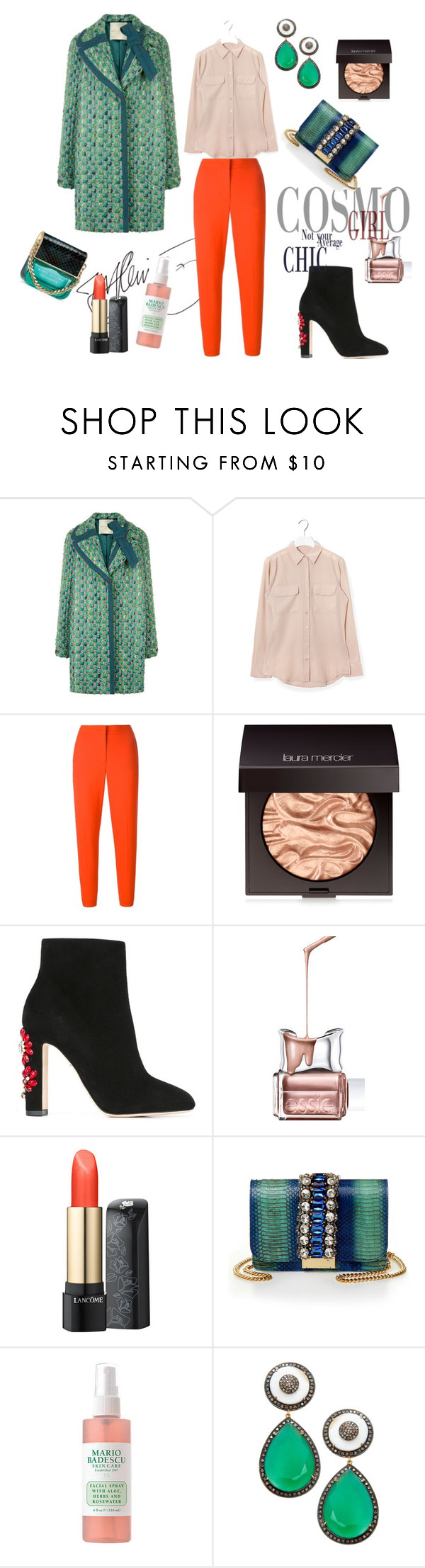 """""""Jade"""" by flowerdreamer ❤ liked on Polyvore featuring Marco de Vincenzo, Equipment, MSGM, Laura Mercier, Dolce&Gabbana, Essie, Lancôme, GEDEBE, Mario Badescu Skin Care and Jyoti"""