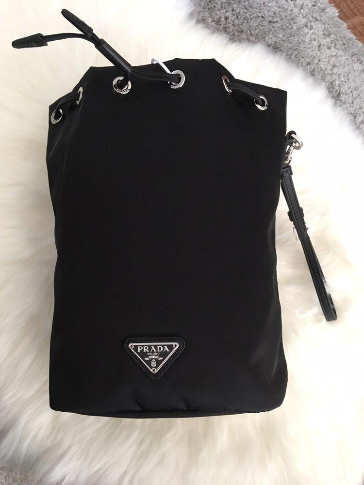 6dbe8a2ab548 Prada Bucket Bag Nylon NWT Brand New Drawstring Black Clutch Pouch ...